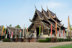 Beautiful Thai Lanna wooden temple in Chiang Mai, Thailand Stock Photo