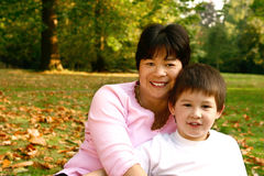 Beautiful Thai mom and son Royalty Free Stock Images