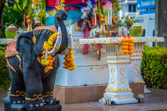 Beautiful Thai outdoor spirit house shrine. Royalty Free Stock Images