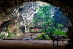 Beautiful Thai pavilion in cave. Background Stock Photo