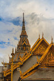 Beautiful Thai's style craving and decoration on the golden gabl. E end at Wat Sothonwararam, a famous public temple in Chachoengsao Province, Thailand Stock Image