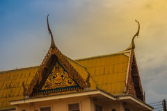 Beautiful Thai's style craving and decoration on the golden gabl. E end at Wat Sothonwararam, a famous public temple in Chachoengsao Province, Thailand Royalty Free Stock Photography