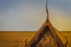 Beautiful Thai's style craving and decoration on the golden gabl. E end at Wat Sothonwararam, a famous public temple in Chachoengsao Province, Thailand Stock Photos