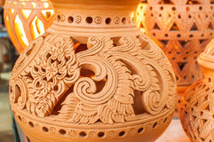 Beautiful Thai style designs on pottery. Pottery is an art that is beautiful designs from Thailand royalty free stock photography