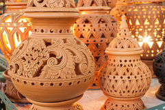Beautiful Thai style designs on pottery. Pottery is an art that is beautiful designs from Thailand royalty free stock image