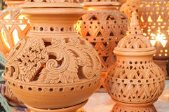 Beautiful Thai style designs on pottery. Pottery is an art that is beautiful designs from Thailand Stock Images