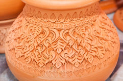 Beautiful Thai style designs on pottery. Pottery is an art that is beautiful designs from Thailand royalty free stock photos