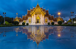 Beautiful Thai Temple, Marble Temple at twilight Stock Photos