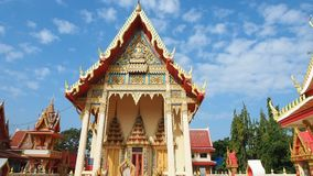 Beautiful Thai temple in peaceful surrounding stock footage