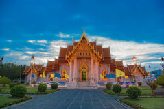 Beautiful Thai Temple Wat Benjamaborphit, temple in Bangkok, Tha. Iland.Generality in Thailand, any kind of art decorated in Buddhist church, temple pavilion Royalty Free Stock Photo