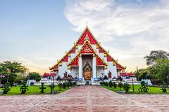 Beautiful Thai temple at Wat Mongkol Bophit Old Temple in Ayutthaya period is the capital. At thailand royalty free stock photography