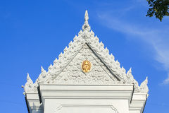 Beautiful Thai temple. Beautiful white Thai temple with sky background Stock Photos