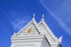 Beautiful Thai temple. Beautiful white Thai temple with sky background royalty free stock photography