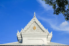 Beautiful Thai temple. Beautiful white Thai temple with sky background royalty free stock photos