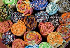 Beautiful Thai textiles have many colorful patterns. royalty free stock image