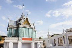 Beautiful Thai White Church at ThaSung Temple, Uthaithani Provin Royalty Free Stock Image