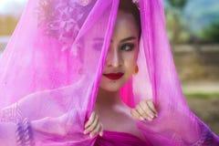 Beautiful Thai woman wearing traditional Thai dress Royalty Free Stock Image