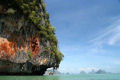 Beautiful Thailand. Impressive karst formations on the coast of Thailand near Krabi royalty free stock image