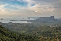 Beautiful Thailand high point view to green forest, mountains and ocean Stock Image