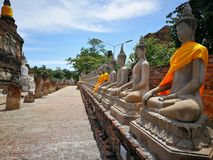A beautiful Thailand temples, pagodas and Buddha statute in old historical`s Thailand country. At `Ayutthaya` Province Thailand Royalty Free Stock Images