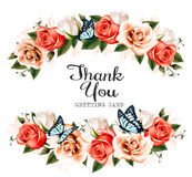 Beautiful Thank You greeting card with roses and butterflies. Royalty Free Stock Photo