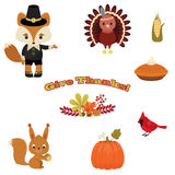 Beautiful Thanksgiving icons Royalty Free Stock Image