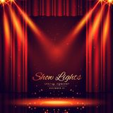 Beautiful theater stage with lights focus. Vector Royalty Free Stock Photos