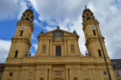 Beautiful Theatinerkirche in Munich in Germany. Shot from the front stock photos