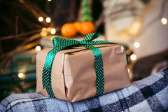 Beautiful themed gifts lie on vintage chair christmas Stock Photo