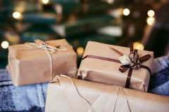 Beautiful themed gifts lie on vintage chair christmas Royalty Free Stock Photos