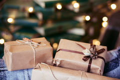 Beautiful themed gifts lie on vintage chair christmas Royalty Free Stock Photo