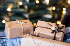 Beautiful themed gifts lie on vintage chair christmas Stock Photography