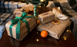 Beautiful themed gifts lie on wooden table Royalty Free Stock Image