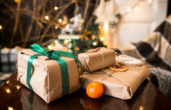 Beautiful themed gifts lie on wooden table Royalty Free Stock Photo
