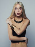Beautiful thin model. young blonde woman. Fashion girl in jewelry Stock Image