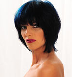 Beautiful thin woman with blue hair Royalty Free Stock Photo
