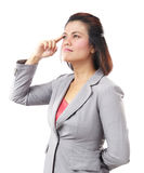 Beautiful thinking Asia business woman looking up  Stock Photography