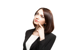 Beautiful thinking business woman isolated Stock Photo
