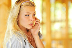 Beautiful thinking girl Stock Photography