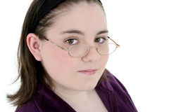 Beautiful Thirteen Year Old With Glasses Close-Up Royalty Free Stock Photo