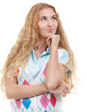 Beautiful thoughtful blond woman looking up. Isolated over white Stock Image