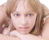 Beautiful thoughtful blonde girl Stock Photography