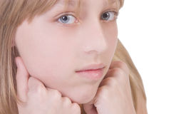 Beautiful thoughtful blonde girl Stock Images