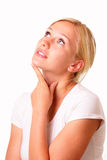 Beautiful thoughtful blonde woman Stock Images