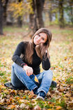 Beautiful thoughtful girl  in autumn Stock Photography