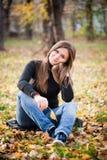 Beautiful thoughtful girl  in autumn Stock Photography