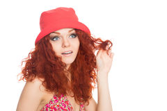 Beautiful thoughtful girl in red panama hat Royalty Free Stock Image