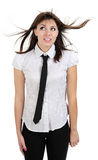 Beautiful thoughtful girl with shirt and tie Stock Photography