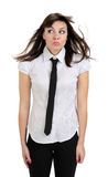 Beautiful thoughtful girl with shirt and tie Royalty Free Stock Photo