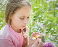 Beautiful thoughtful girl wonders tear off daisy petals. While sitting in a meadow Stock Photo